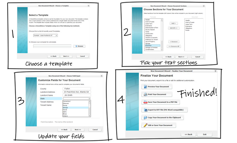 The New Document Wizard - 1.  Choose a template 2. Pick your text sections 3. Update your fields 4. Finished!